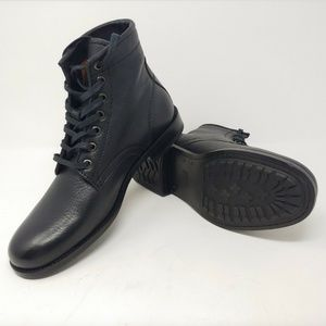 Frye Tyler Lace Up Combat Boots Black Leather